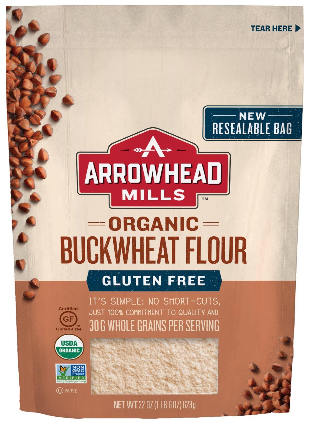 Arrowhead Mills Organic Gluten Free Buckwheat Flour, 22 oz. Bag (Pack of 6) by Arrowhead Mills