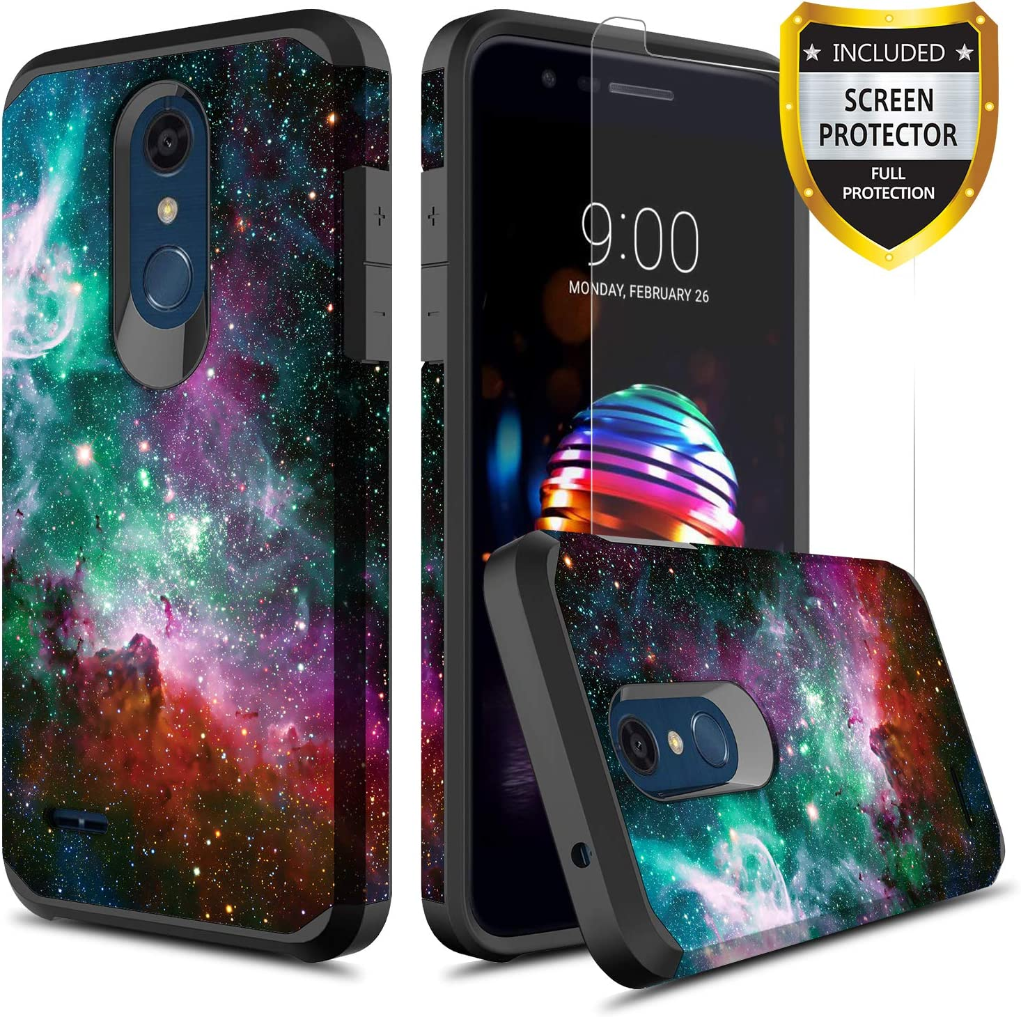 GORGCASE LG K30 Case, LG K10 2018 Case, LG Premier Pro LTE, LG Harmony 2 with Screen Protector, Slim Cute Shockproof Hard PC Girls Women Men Armor Protective Cover for LG Phoenix Plus Galaxy Star