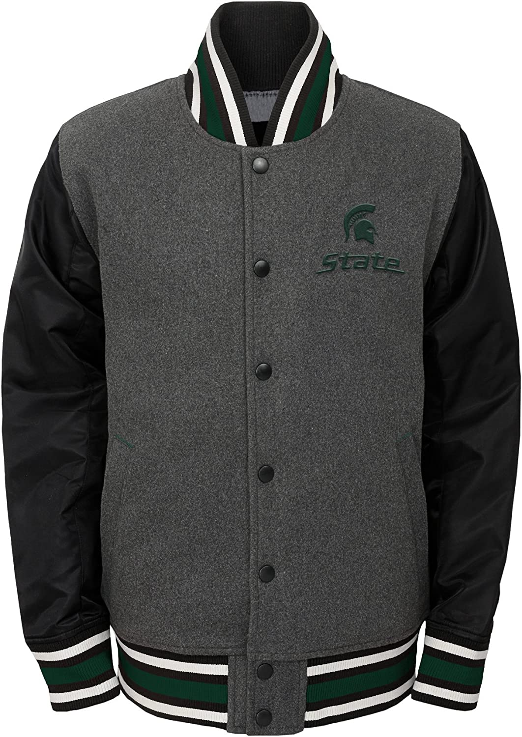 Medium Michigan State Spartans 10-12 Charcoal Grey NCAA by Outerstuff NCAA Youth Boys Letterman Varsity Jacket