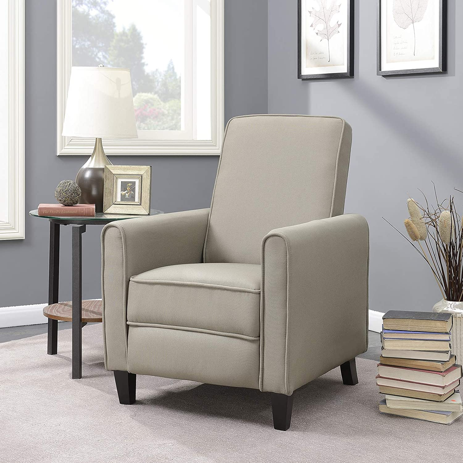 Amazon com belleze modern recliner club chair accent living room linen w footrest taupe kitchen dining