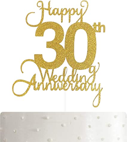 10th Wedding Anniversary Cake Topper, Wedding Anniversary Party Decoration  with Premium Gold Glitter