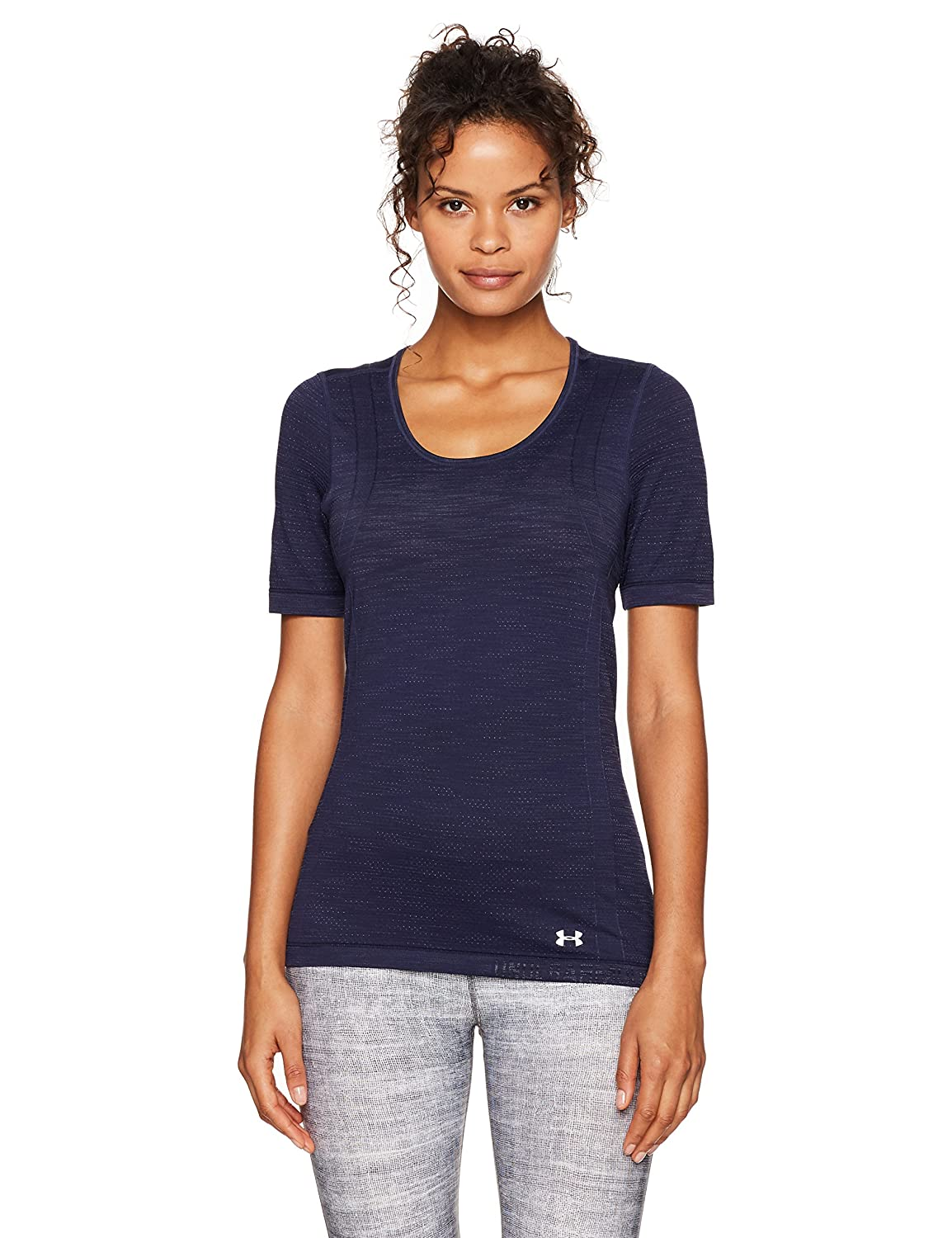 Under Armour Women 's Armour threadborne Seamless Space Dye Short Sleeve B075847VSH Large|Midnight Navy (410)/Silver Midnight Navy (410)/Silver Large