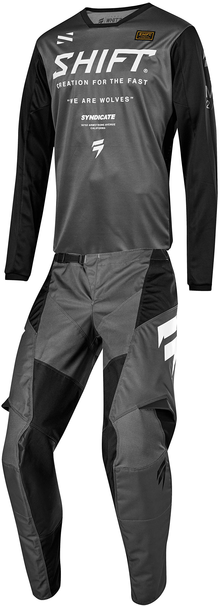 Shift MX 2019 White Label Muse Motocross Off-Road Dirt Bike Riding Gear Combo (Mens Smoke Grey & Black Jersey Medium/32W Pant)