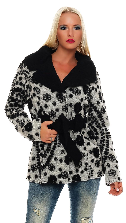 Damen Mantel Wolle tailliert Weiß Jacke Made in Italy breiter Kragen Bindegürtel Gr. XL/XXL