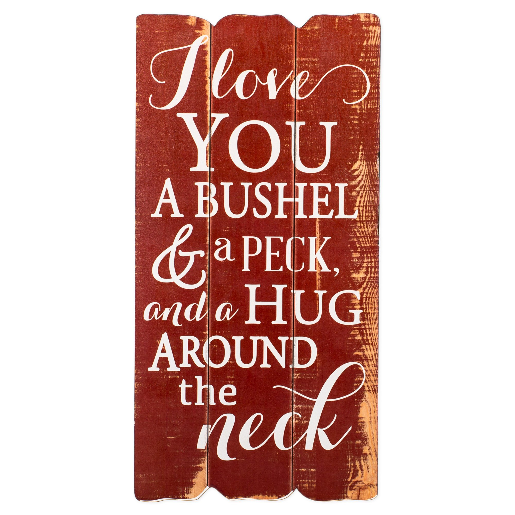 I Love You a Bushel and a Peck Distressed Red Fence Post Design 12 x 6 Wall Art Sign Plaque