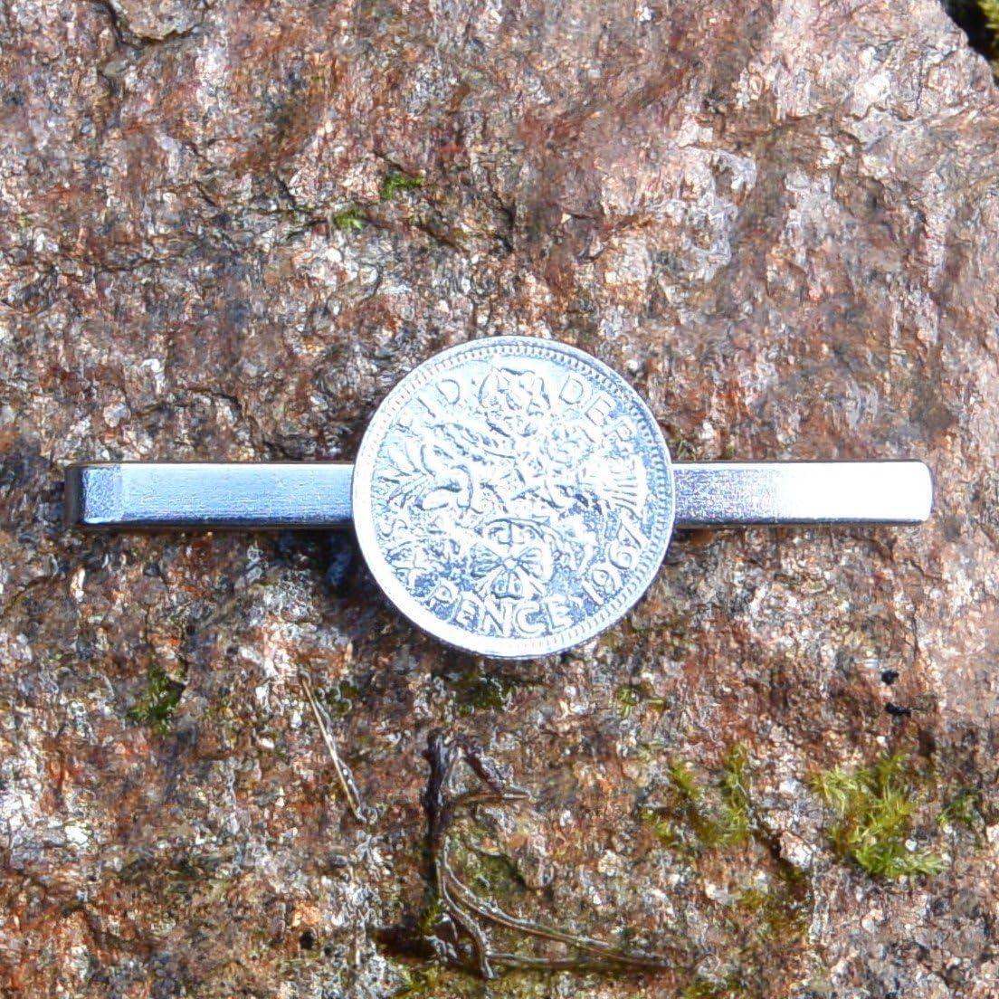 Fabrication Fran/çaise Kiwi Pince /à Cravate Monnaie Anglais 1967 Sixpence Fait /à la Main en Etain