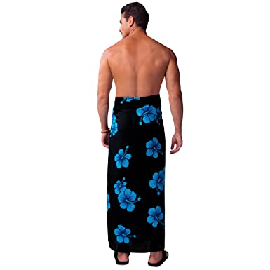 90374dd99a 1 World Sarong Mens Hibiscus Flower PLUS SIZE Fringeless (TM) Sarong in Aqua  Blue