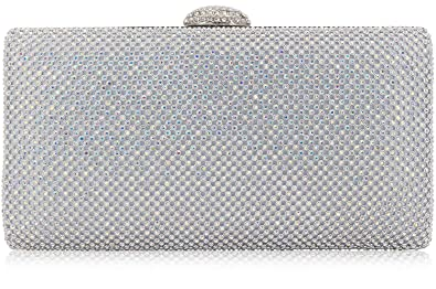7dde863ee0 Dexmay Large Rhinestone Crystal Clutch Evening Bag for Cocktail Prom Party  Women Clutch Purse AB Silver