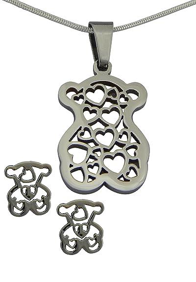 hanessa Chica de mujer joyas set collar pendientes acero ...