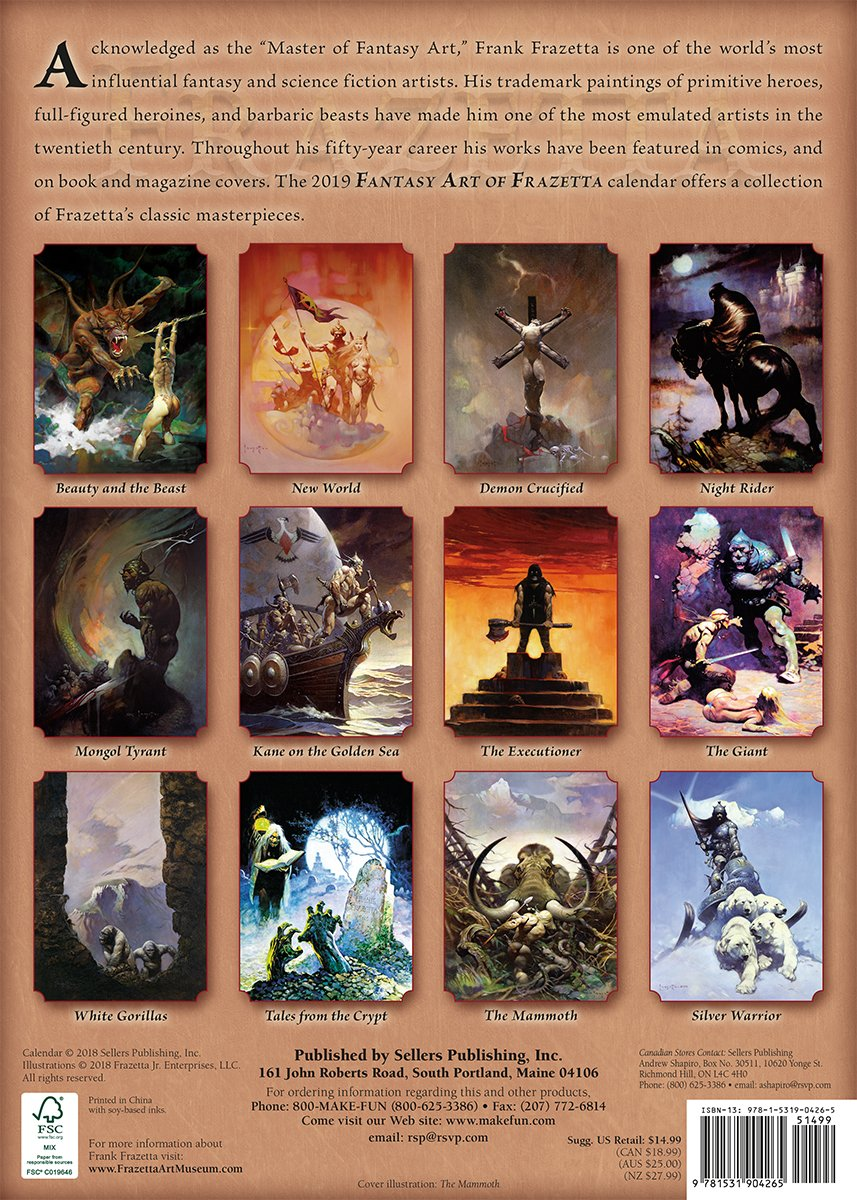 The Fantasy Art of Frazetta 2019 Wall Calendar by Sellers Publishing (Image #2)