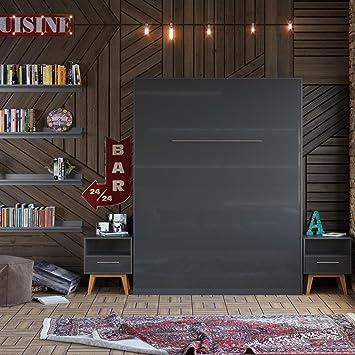 smartbett lit escamotable de 160 x 200 cm vertical armoire lit le lit mural - Lit Armoire