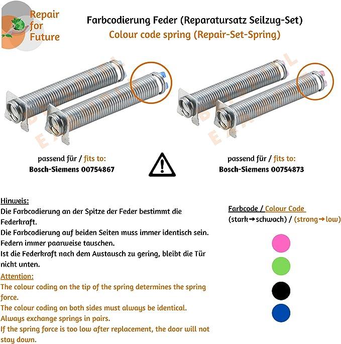 compatible r/éf pour divers appareils Bosch 00754867 754867 DREHFLEX/® Kit de r/éparation corde et ressort pour porte//charni/ère de porte Neff Siemens marquage bleu
