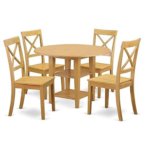 Amazon.com: East West Furniture SUBO5-OAK-W Sudbury - Juego ...