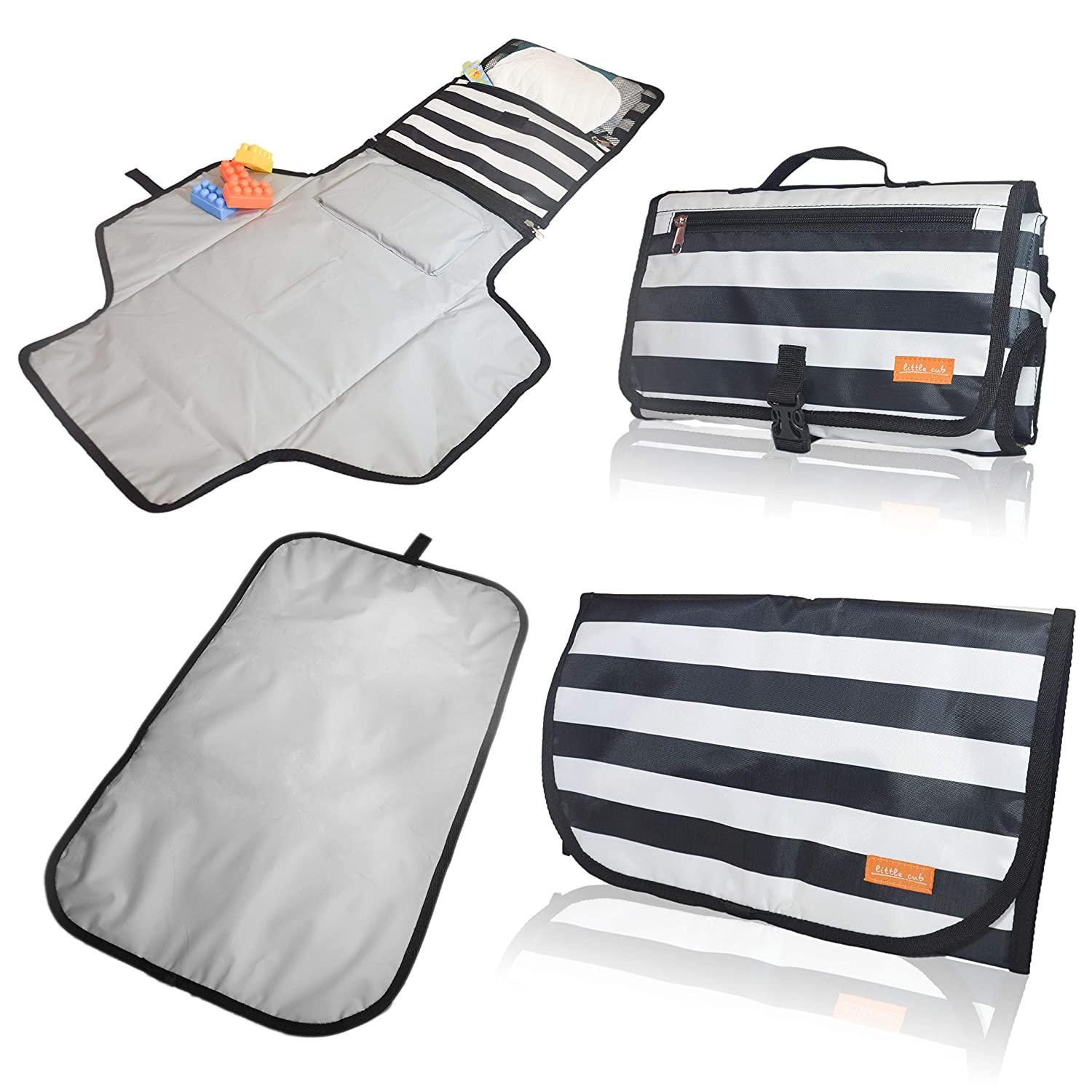 Portable Diaper Changing Pad & Baby Changing Pad – 2 Foldable, Waterproof, Lightweight, Travel Size, and Wipeable Diaper Changing Mat. Includes Soft Head Pillow & Storage Pockets - for Infants & Baby Safari Production Group
