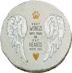 """Grasslands Road """"Your Wings were Ready Paw Print with Wings Stepping Stone Pet Remembrance Plaque"""