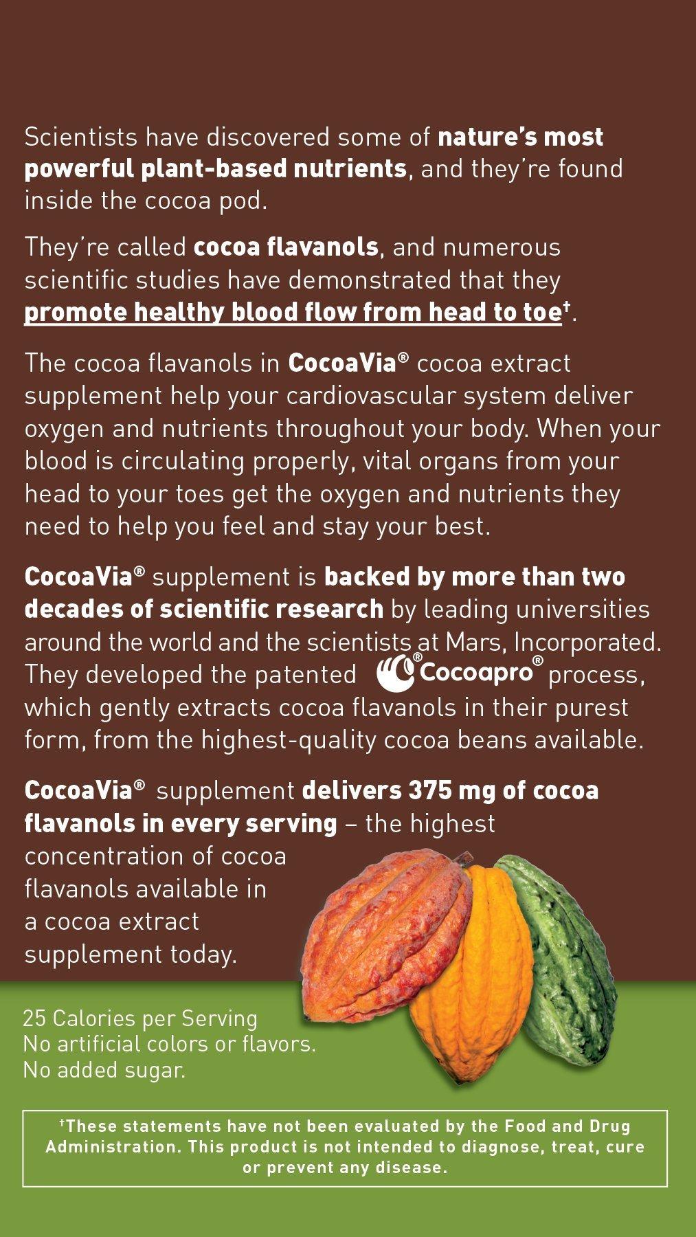 CocoaVia Unsweetened Dark Chocolate, 375 mg, 30 Count