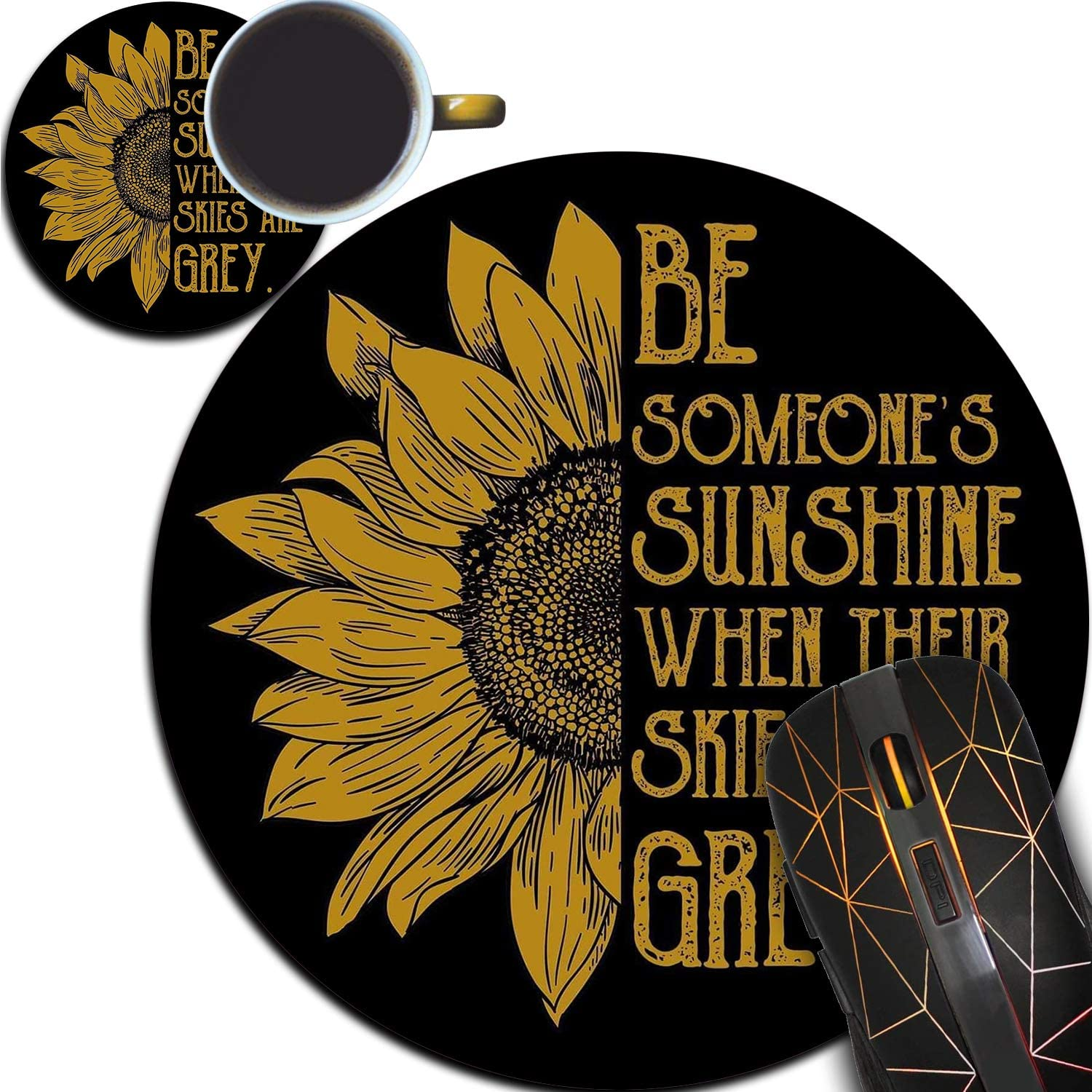 Personalized Round Mouse Pad and Coaster Set, Sunflower Stripes Design Round Non-Slip Rubber Mouse Pads Office Desk Accessories for Computers Laptop