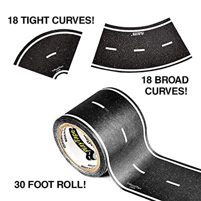 PlayTape 30x2 Inch Black Road Tape with 2 Inch Curve Rolls (30x2 1 Pack of Road Tape, 2 Packs of Curve Tape): Toys & Games