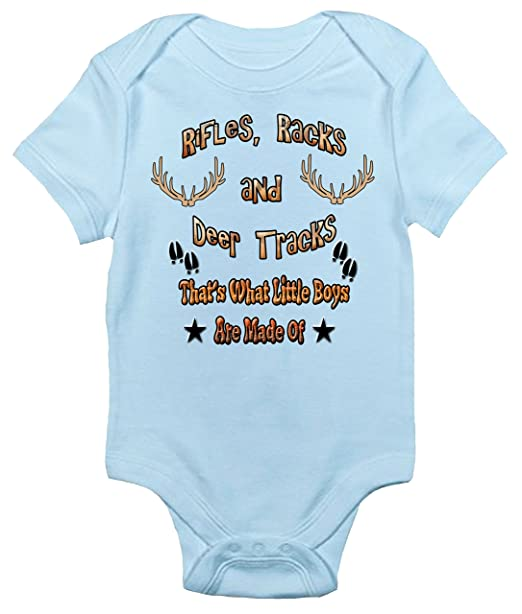 63a490bf86af4 Amazon.com: Rifles Racks and Deer Tracks Baby Bodysuit Cute Hunting Baby  Clothes for Boys: Clothing
