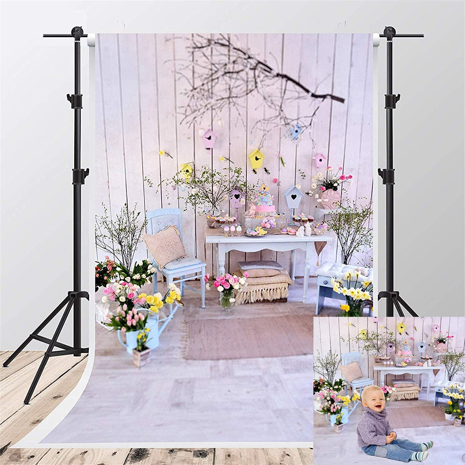 Kate 8x8ft Microfiber Easter Eggs Backdrops for Photoshoot Cute Rabbit Background Spring Holiday Party Decoration Backgrounds Rustic Wood Wall Studio Backdrop