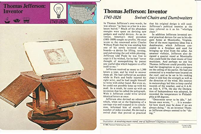 Marvelous 1979 Panarizon Story Of America 55 09 Thomas Jefferson Gmtry Best Dining Table And Chair Ideas Images Gmtryco