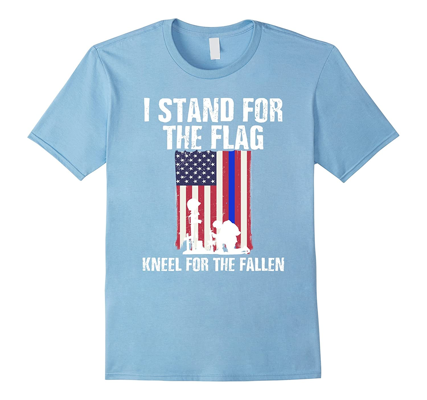 e41c8df9 Stand For The Flag, Kneel For The Fallen T-Shirt Blue Line-Art ...