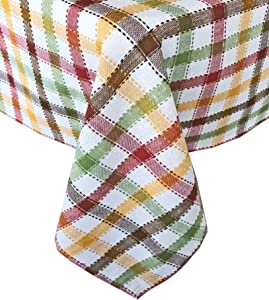 """Lintex Farmhouse Multi Autumn Plaid Fall and Thanksgiving 100% Cotton Fabric Tablecloth - Fall Cottage Plaid Kitchen and Dining Room Easy Care Cotton Weave Tablecloth, 70"""" Round"""