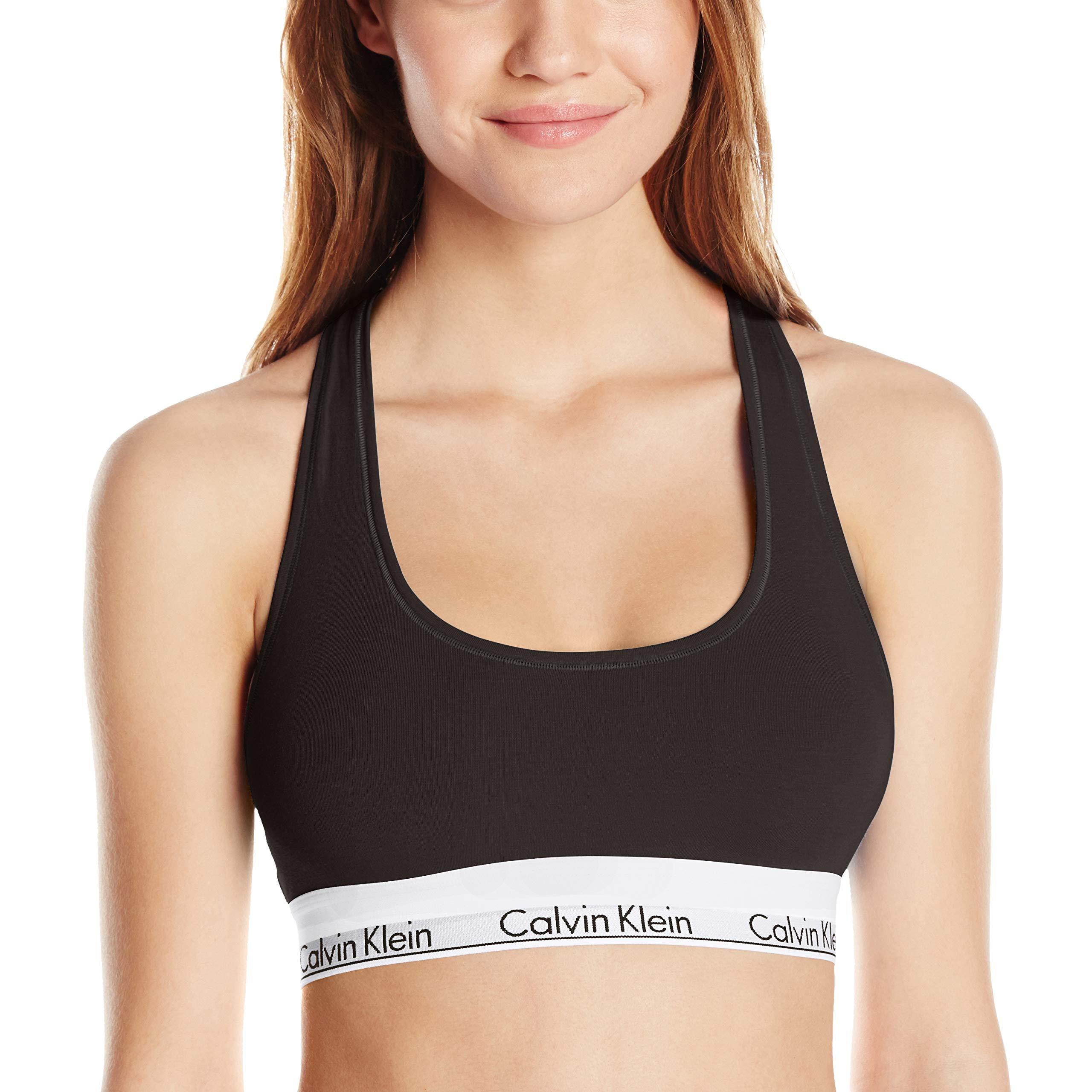 Calvin Klein Women's Plus Size Modern Cotton Bralette, Black, 2X