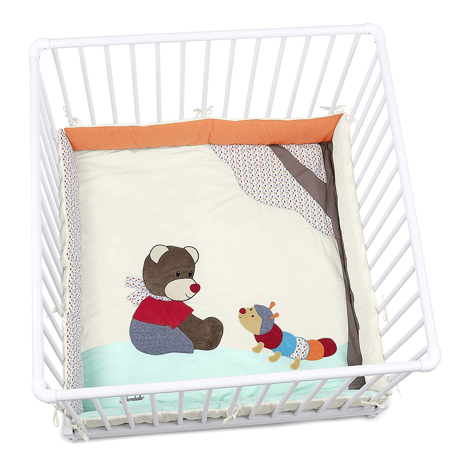 Sterntaler Playpen Pad, 100 x 100 cm/75 x 100 cm, Bobby The Bear 9141729