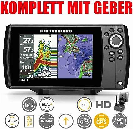 Humminbird Echolot GPS Kartenplotter Komplett mit Geber Helix 7 Chirp GPS G3