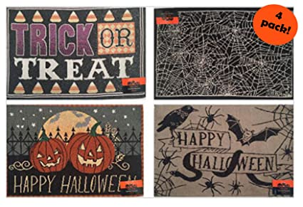 Halloween Placemats   Amazon Com Set Of 4 Halloween Placemats Tapestry Style Designs