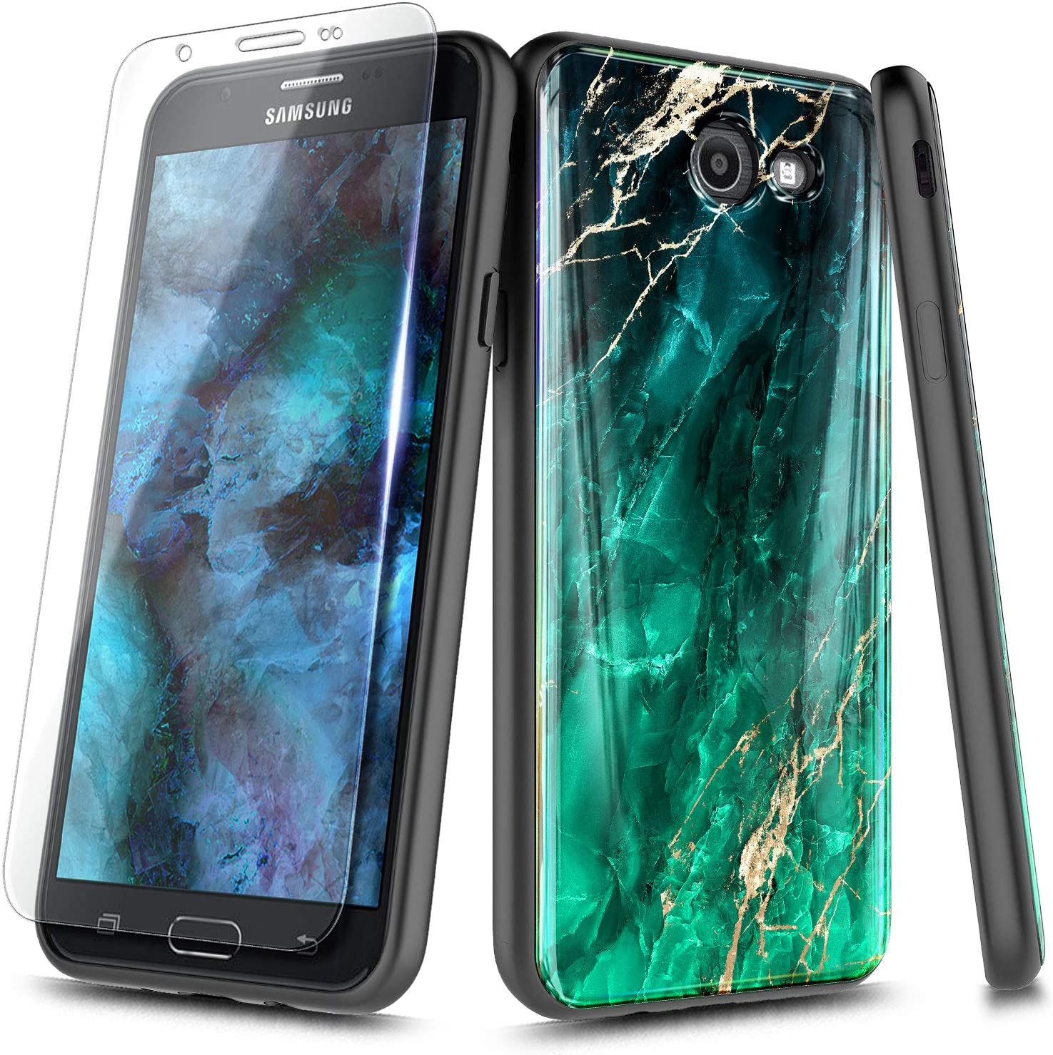 NageBee Case for Samsung Galaxy J7 2017 (Not Fit J7 2018), J7 V 2017(1st Gen) /J7 Prime/J7 Perx/J7 Sky Pro/Halo with Tempered Glass Screen Protector, Ultra Slim Thin Glossy Stylish Phone Case -Emerald
