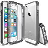 Ringke [Fusion] iPhone SE Case Crystal Clear PC Back TPU Bumper [Drop Protection/Shock Absorption Technology] for Apple iPhone SE (2016) / 5S (2013) / 5 (2012) (Smoke Black)