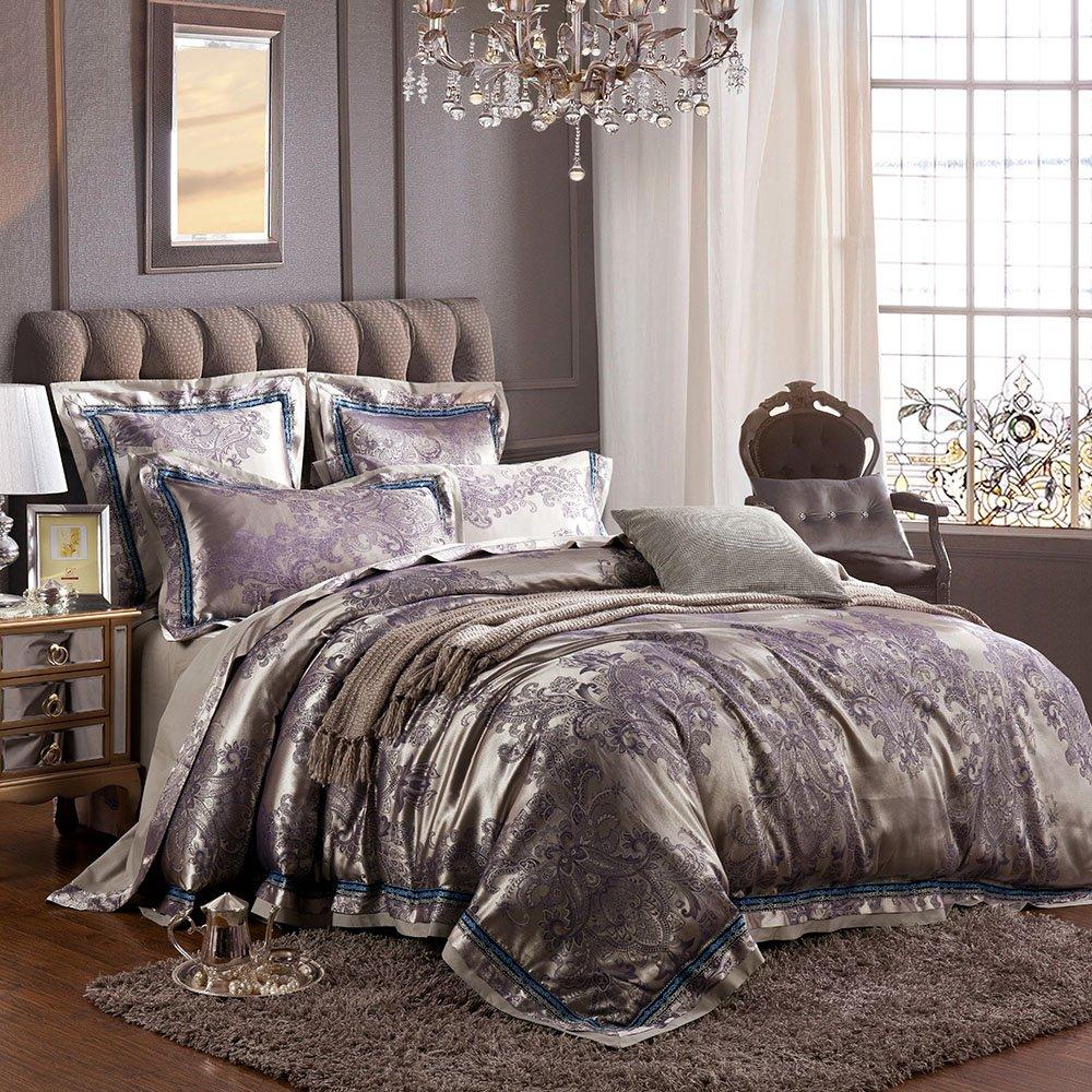MKXI Sateen Cotton Bedding European Luxury Paisley Jacquard Duvet Cover Set Queen Size,3 Pieces