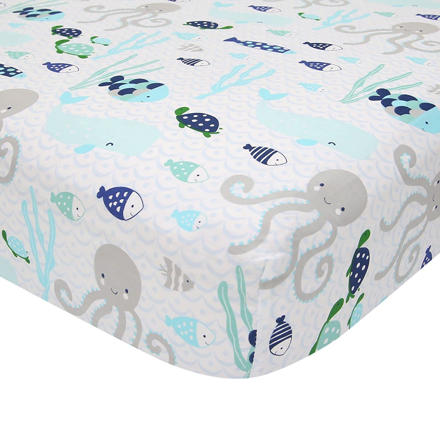 Lambs & Ivy Oceania 100% Cotton Fitted Crib Sheet - White with Blue Nautical/Aquatic Fish and Octopus 81IH3rJ9DEL