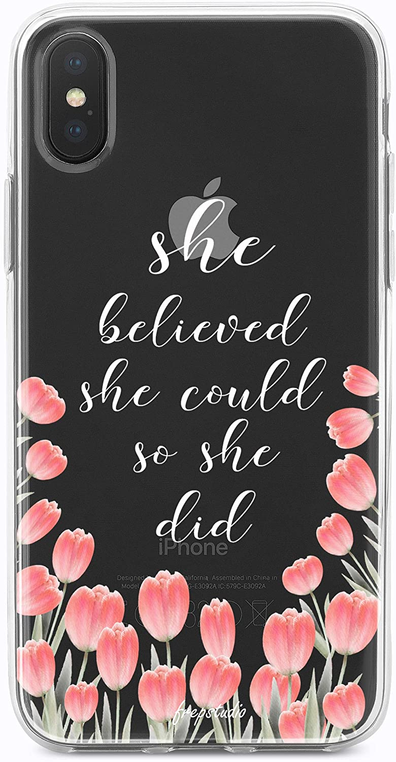 iPhone Xs/X Case Girls Women,Pink Tulip Floral Flowers Spring Summer Bible Verses Inspirational Quotes She Believed She Could She Did Chic Cute Love Life Clear Soft Case Compatible for iPhone X/XS