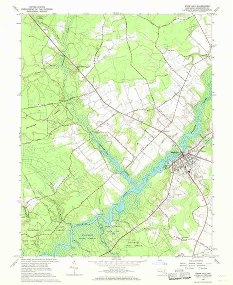 Amazon.com : YellowMaps Snow Hill MD topo map, 1:24000 Scale, 7.5 X ...