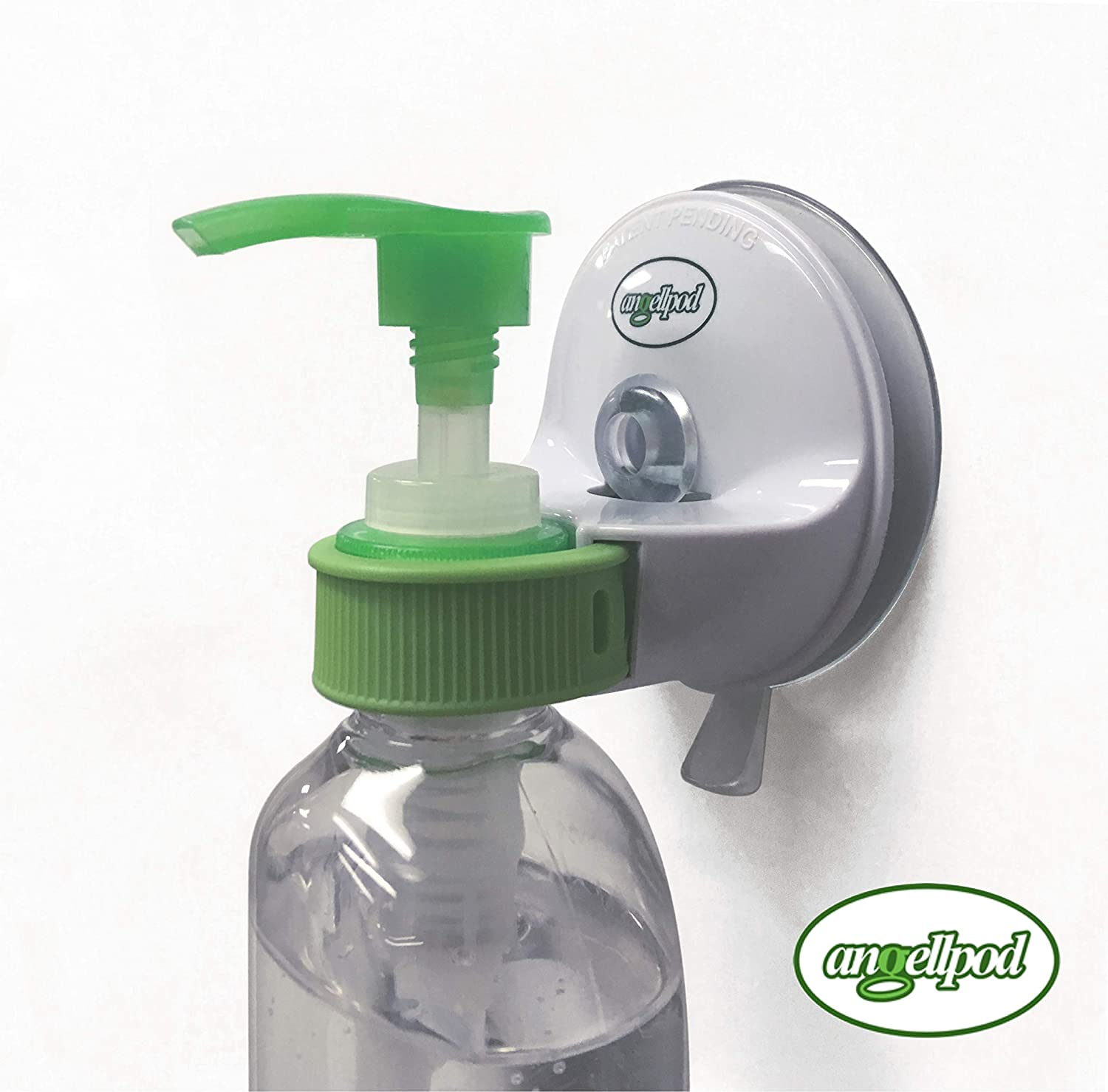 AngellPod Adjustable, Place Anywhere Hand Sanitiser Holder, Wall Mounted Pump Bottle Holder. Hand sanitiser Holder, soap dispensor Holder. Suction Cup REPOSITIONS & Self-Adhesive Sticks Anywhere!
