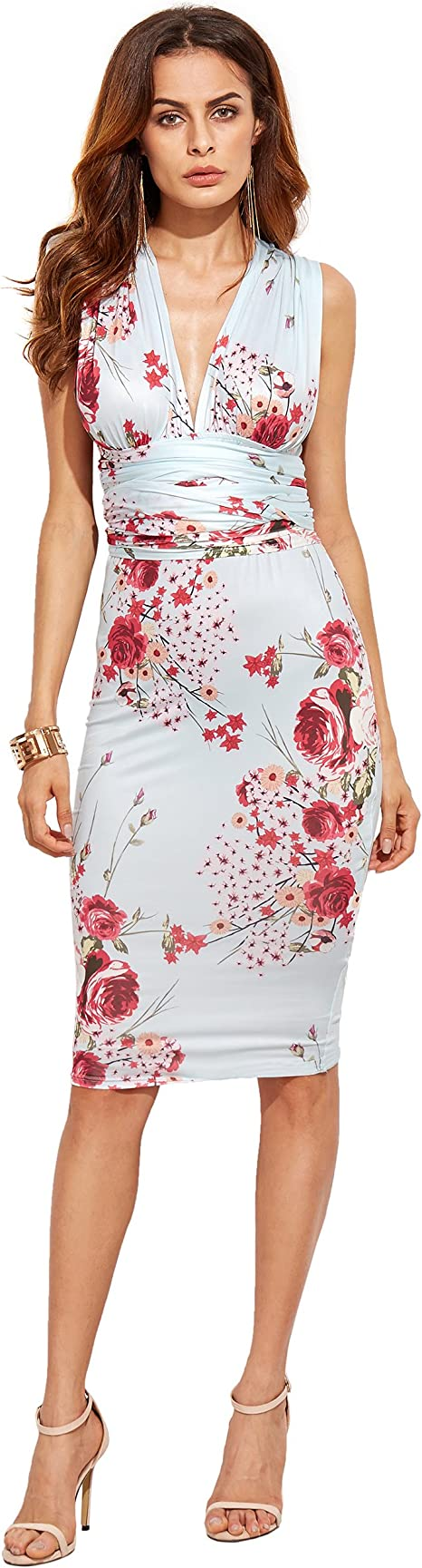 SheIn Damen Etui Kleid Gr. S, mehrfarbig: Amazon.de: Bekleidung