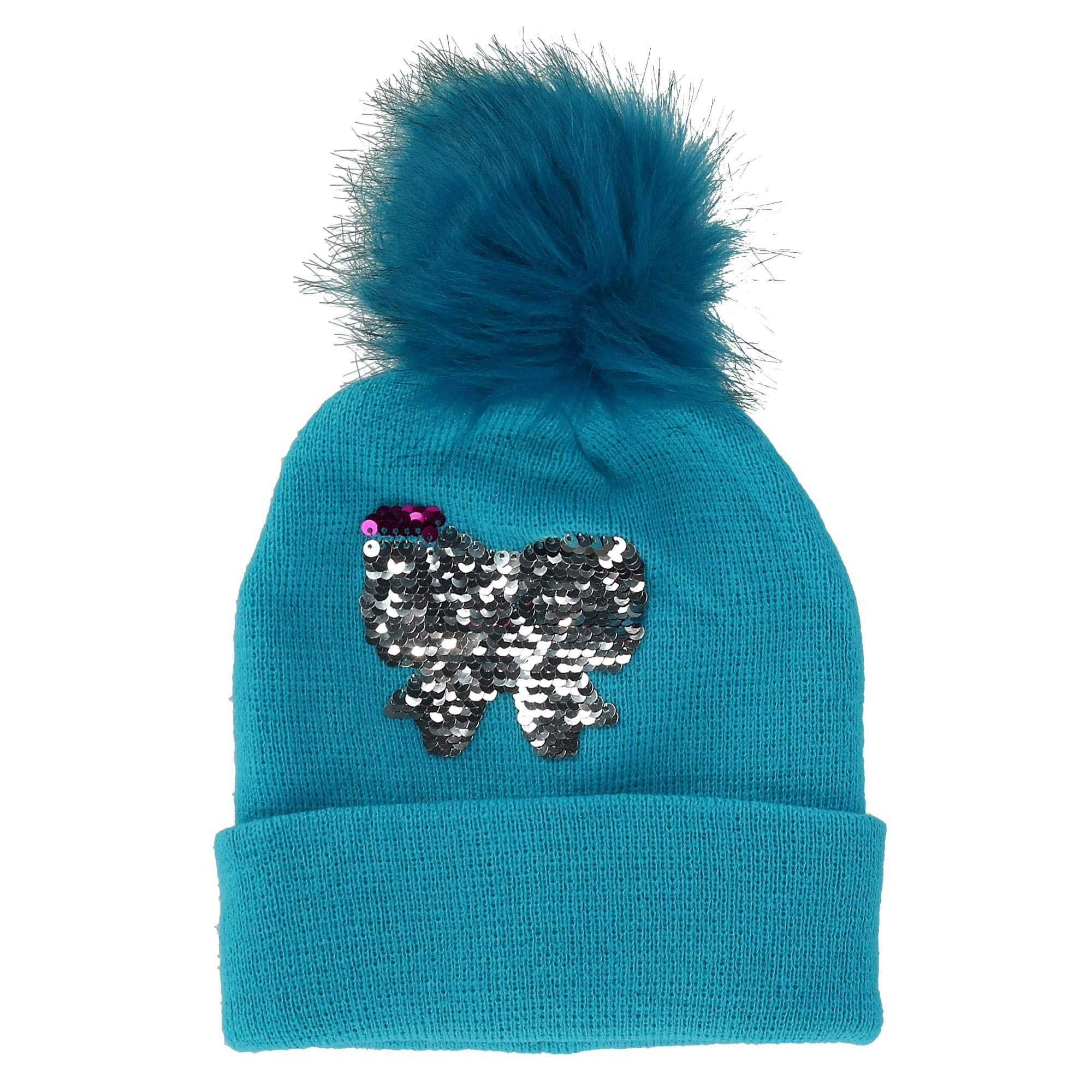 Alexa Rose Girls' Sequins Cuff Beanie Hat with Pom, Blue