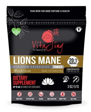 Lions Mane Mushroom Extract Powder 2oz-57gm 20 1 Concentration ORGANIC