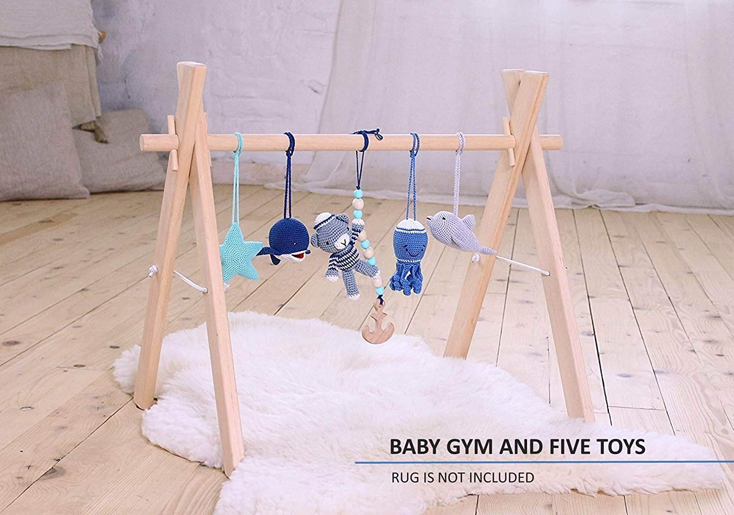 Nautical baby play gym with 5 mobiles. Baby gym wood, crochet rattles. Bear the sailor, dolphin, whale, octopus, starfish. Sea, marine. Blue, grey, navy, mint. Handmade in eastern Europe.
