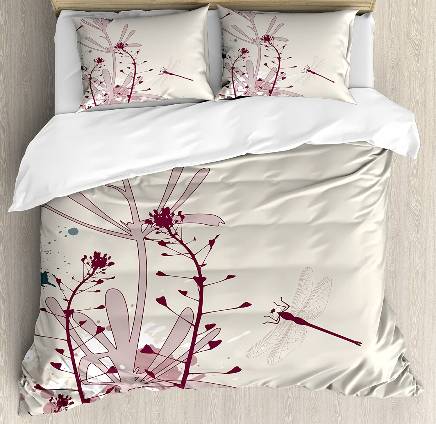 Ambesonne Dragonfly Duvet Cover Set, Grunge Style Design Flowers Leaves and Bugs Flies Wings Image, Decorative 3 Piece Bedding Set with 2 Pillow Shams, Queen Size, Pink Burgundy