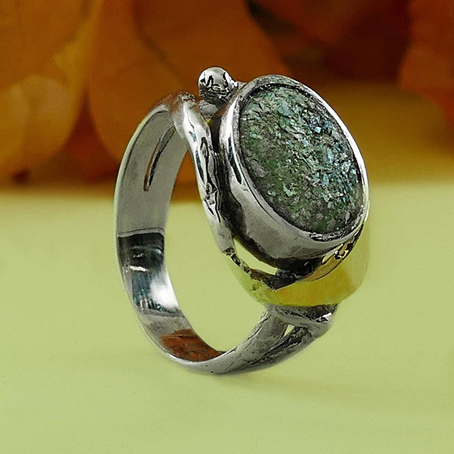 Statement Two Tone 9k Yellow Gold /& 925 Sterling Silver Roman Glass Ring