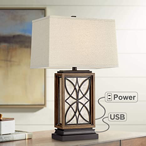Swell Arthur Rustic Table Lamp With Usb And Ac Power Outlet In Base Led Nightlight Bronze Rectangular Oatmeal Shade For Living Room Bedroom Bedside Download Free Architecture Designs Embacsunscenecom