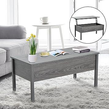 HomCom Lift Top Storage Coffee Table   Grey