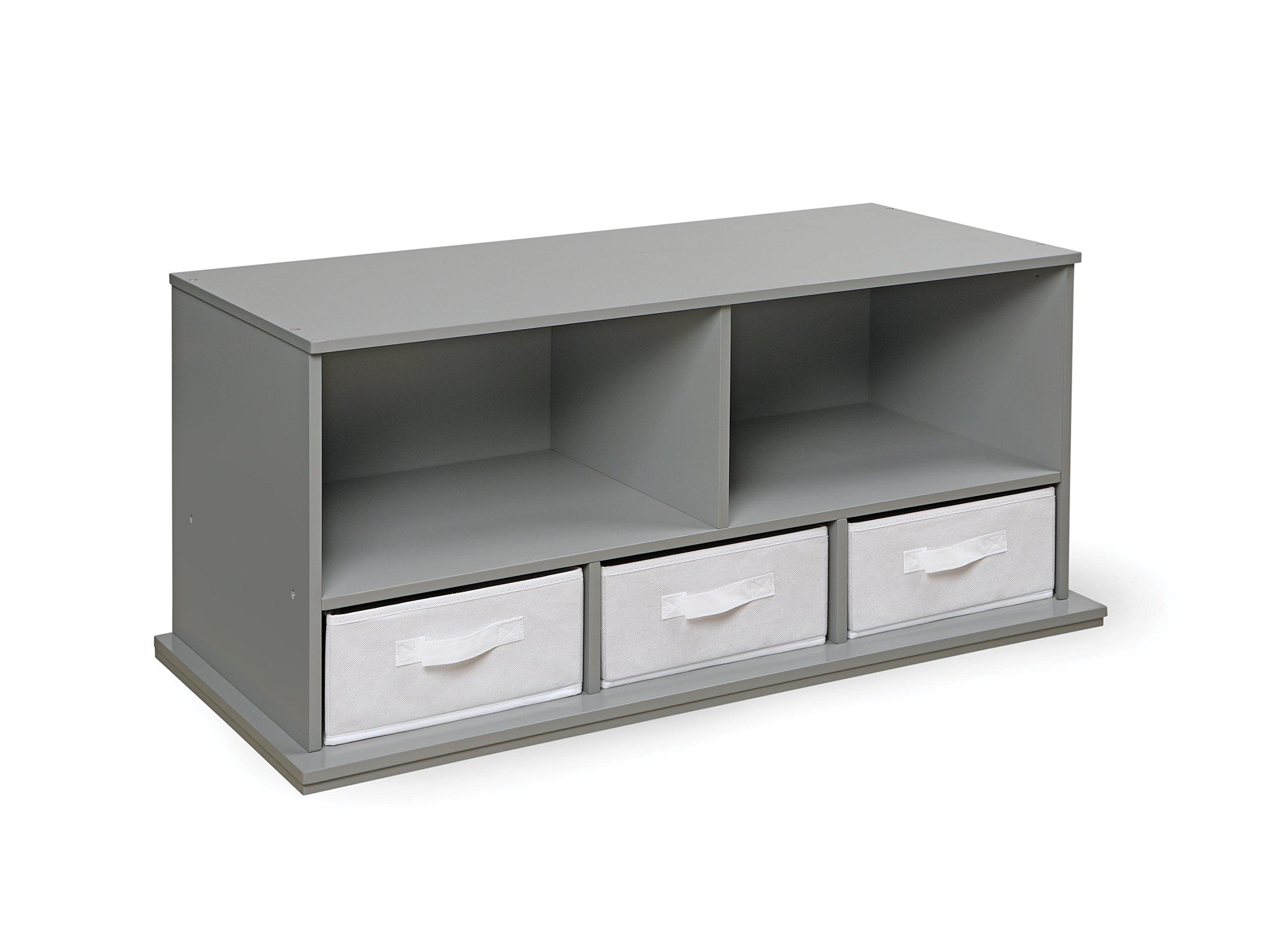 Badger Basket Shelf Storage Cubby With Three Baskets, Gray