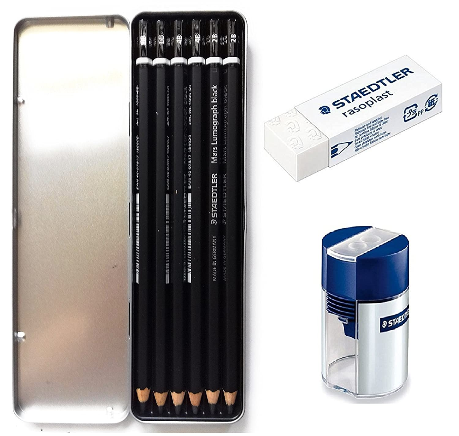 Staedtler Mars Lumograph Black Artist Wooden Lead Pencil - Box of 6 (8B 6B 4B 4B 2B 2B) in Metal Box- With Tub 2-Hole Sharpener and Free Eraser STAEDTLER/Yosogo 100B-G6