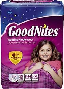 GoodNites Girls Underwear Large/Extra Large, Girl, 20 Count (Pack of 3) Packaging May Vary