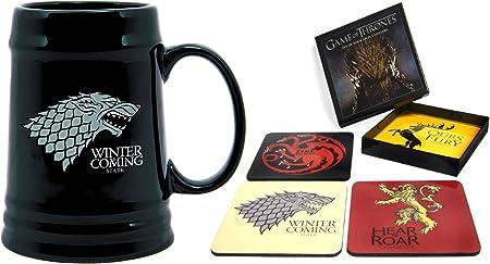 mozlly Value Pack – Dark Horse Deluxe Juego de Tronos Casa Sigil posavasos y Stark Sigil cerámica Stein en vaso (2 artículos) – tema # k183001 – 183009: Amazon.es: Hogar